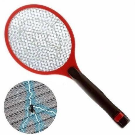 raquete eletrica recarregavel mata mosquito mosca vermelha