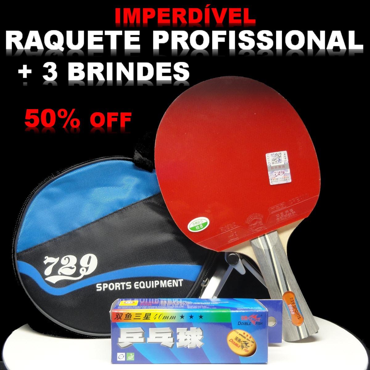 296fc393d Raquete Ping Pong Tenis De Mesa Profissional Kit Bola + Case - R ...