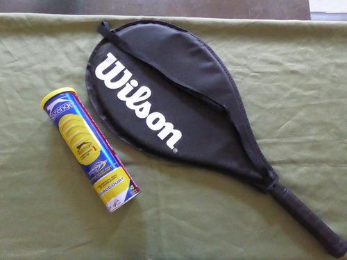 raquete wilson energy xl 3/8  + tubo slazenger com 4 bolas