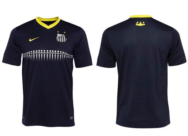 6ba762034567f Rara Camisa Santos Azul Oficial Uniforme 3 Nike 2013   2014 - R  119 ...