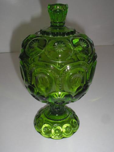 raridade antiga bela compoteira anos 60 vidrão verde 100% pe