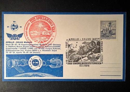 raríssima carta postal austríaca: missão apollo/sojus (1975)