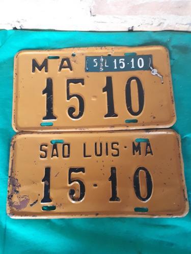 rarissimo par de placas antigas de carro somente numeros