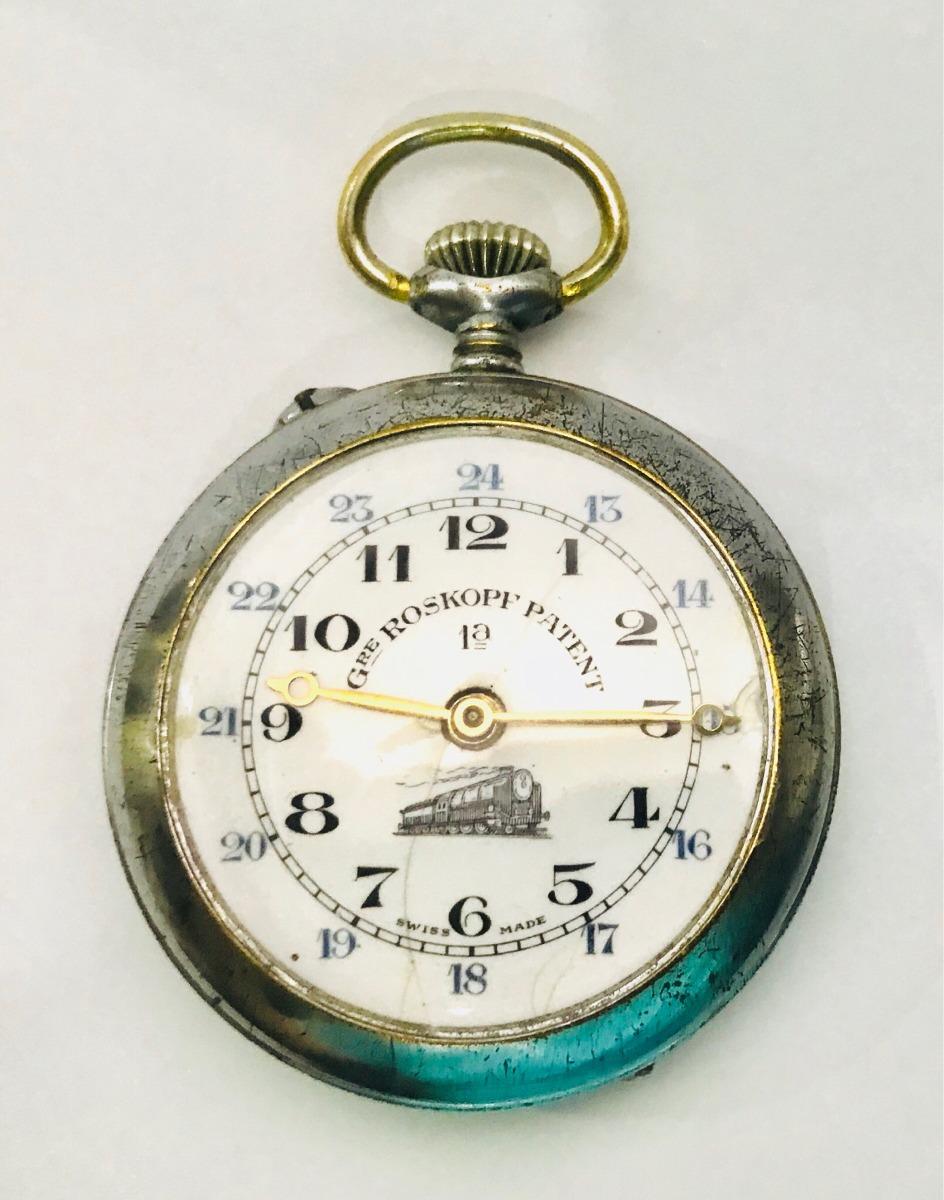 6043419e28d Raríssimo Relógio De Bolso Roskopf Patent Ferroviário Sec 19 - R ...