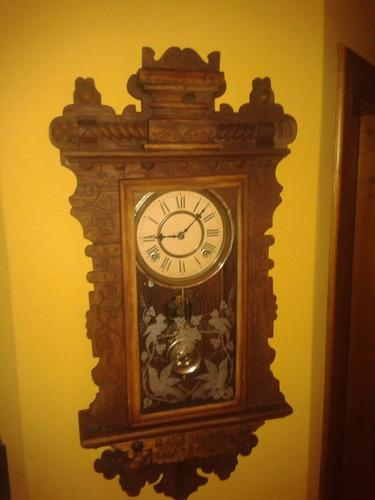 raríssimo waterbury saranac walnut wall clock - usa /1893