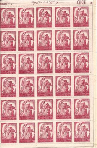 raro e lindo! folha de selo completa - ano 1945