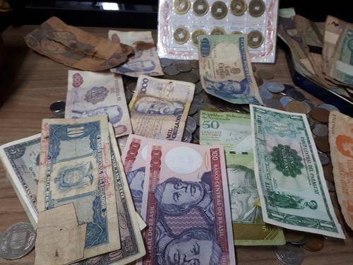 raro lote c/ + de 2200 moedas cédulas nacionais estrangeiras
