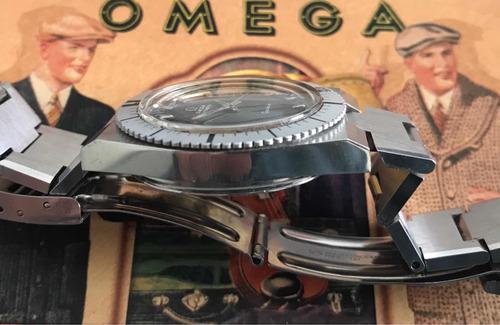 raro ômega geneve diver black dial aço completo automatic