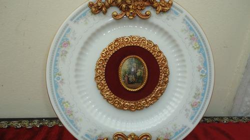 raro plato tsuji porcelana bronce con camafeo miralo
