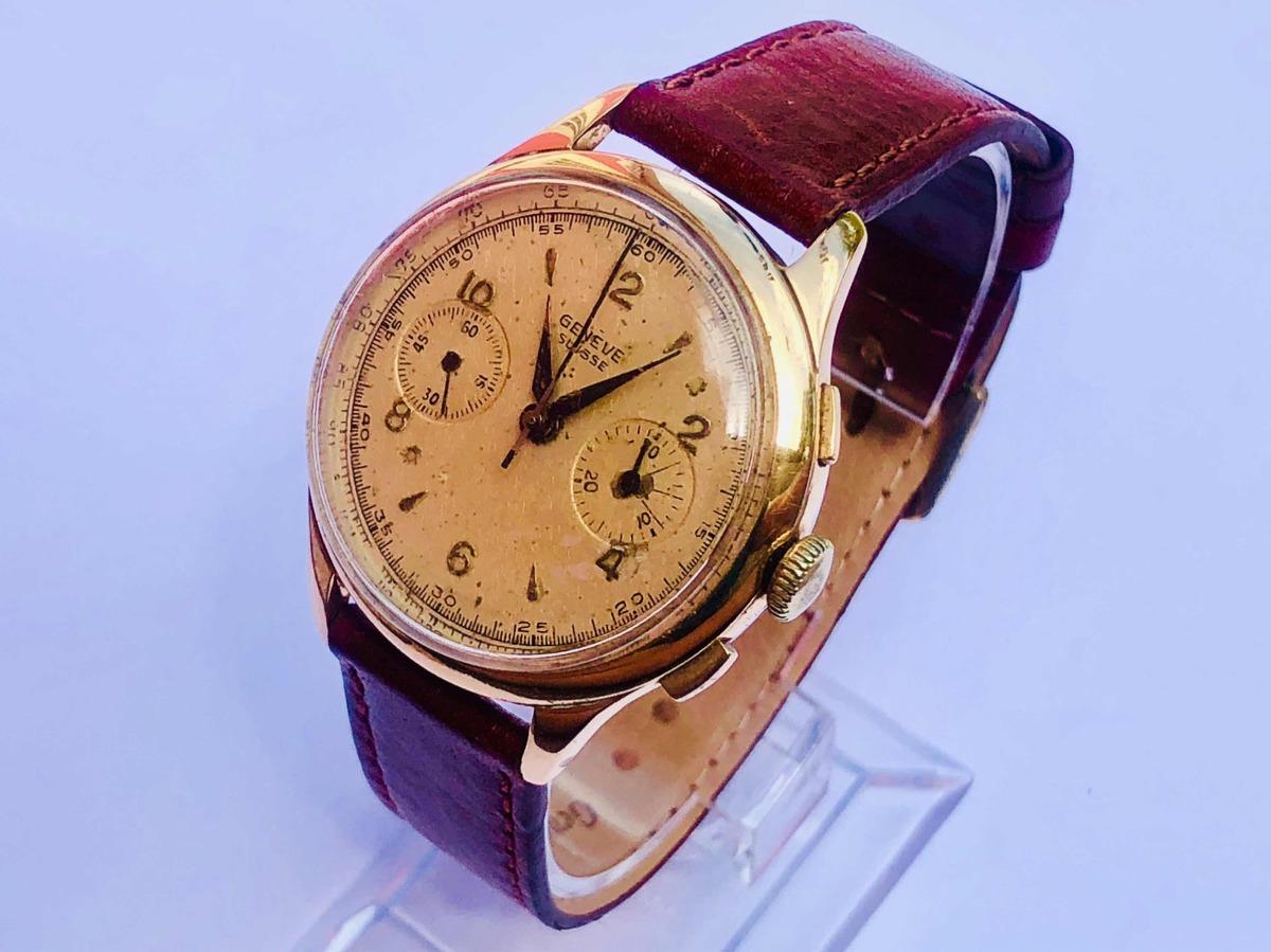 c82e0f509a3 raro relógio de pulso militar suíço cronógrafo geneve suisse. Carregando  zoom.
