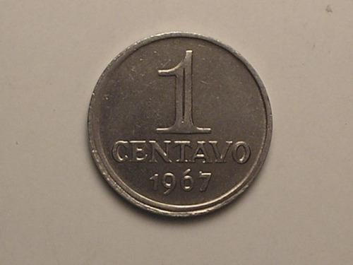 raro rev. quase horizontal  dir. ) 1 centavo - 1967 / flor