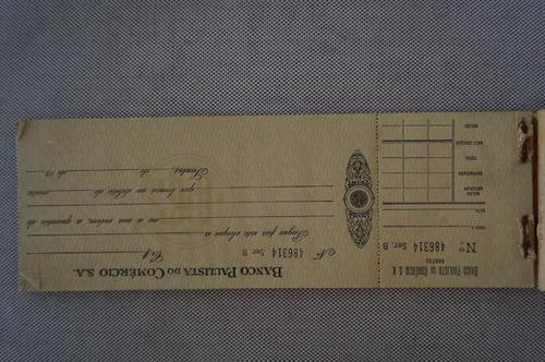 raro talão cheque padrão réis banco paulista do comercio s/a