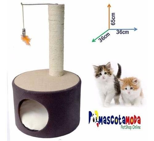 rascador gimnasio para gato con casa juguete y cojin