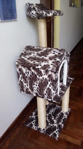 rascador para gato - 3 pisos con casa