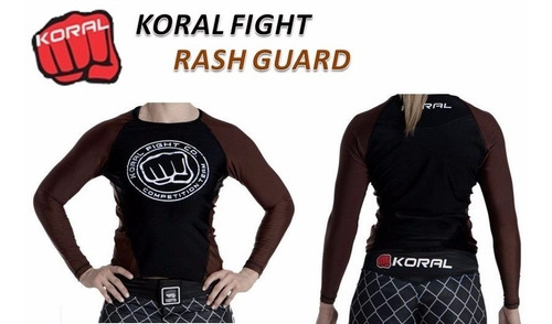 rash guard lycra comp team koral marrom manga longa unissex