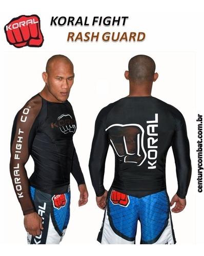 rash guard lycra pro comp koral marrom manga longa