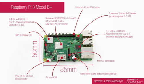 raspberry pi 3 b+ plus rs uk kit base + fuente 2,5a
