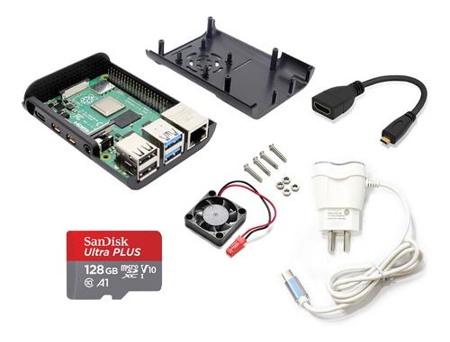 raspberry pi 4 b 4gb ram kit element14 completo 128gb fan