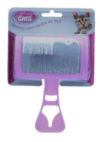 rasqueadeira escova gatos cerdas de aço com pente p/ limpeza