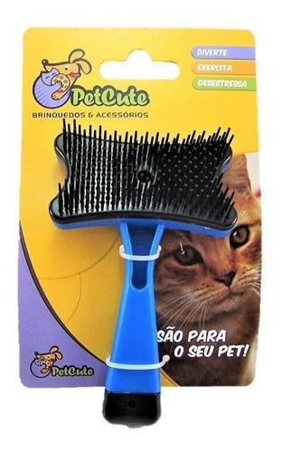 rasqueadeira escova p/ cachorro ou gato auto limpante