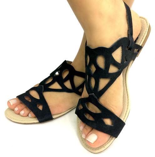 rasteirinha de couro kit 12 pares atacado sandália feminina