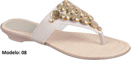 rasteirinha sandália chinelo couro ecol. feminina com pedras