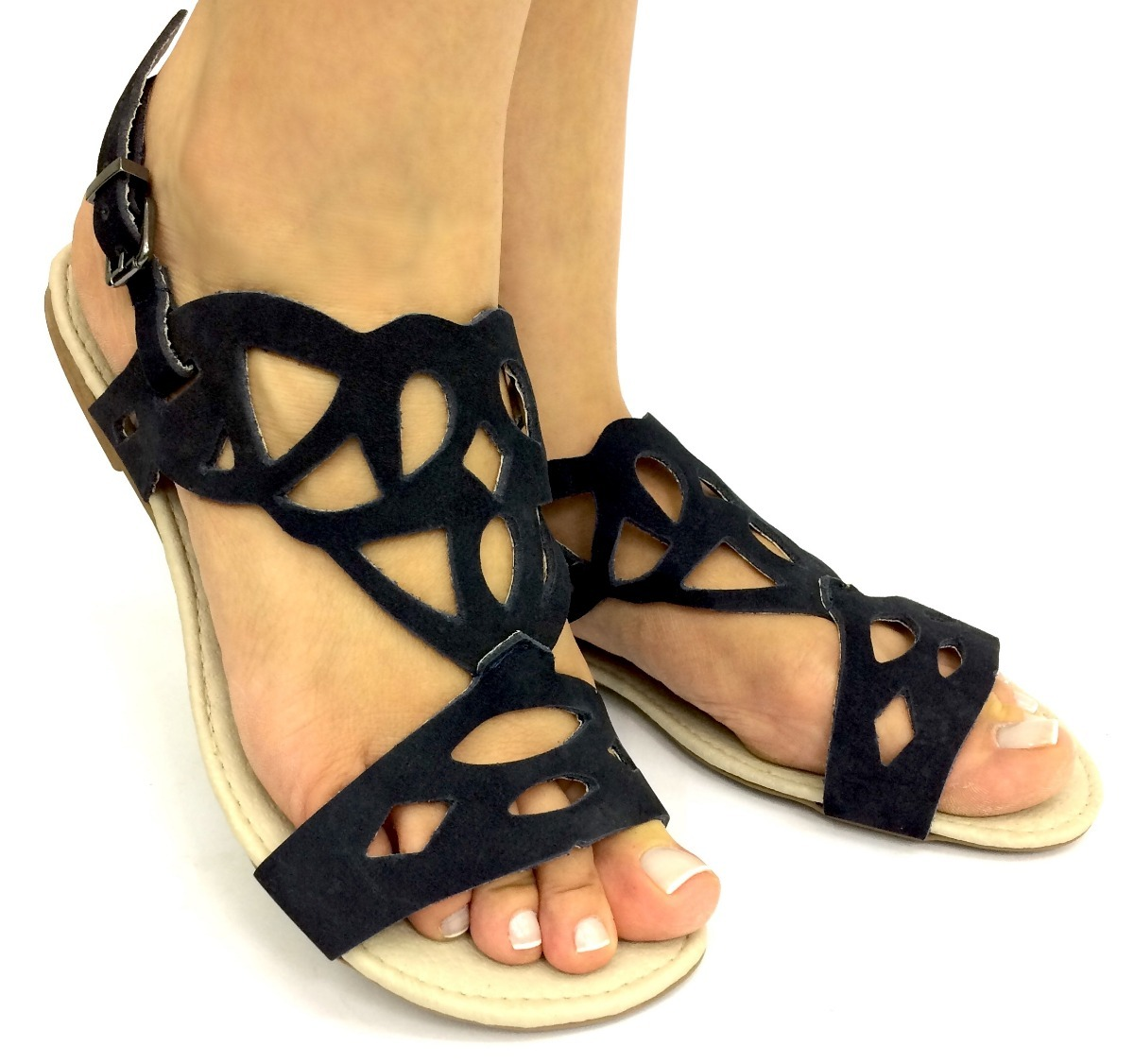 840c3ba1c0 rasteirinha sandália couro preto feminina bonita barata a+. Carregando zoom.