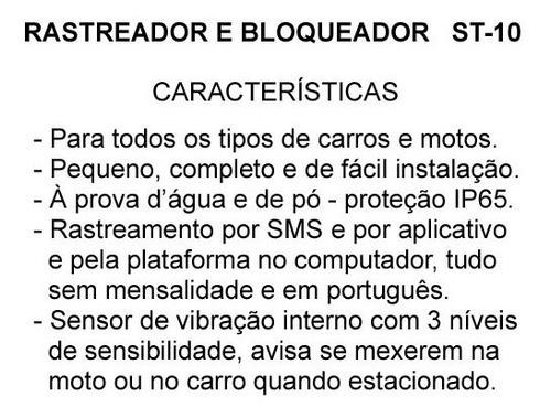 rastreador veicular bloqueador gps tracker st10 moto carro