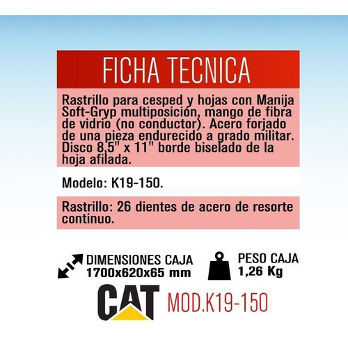 rastrillo 66 cm para cesped y hojas cat k19-150 dielectrico