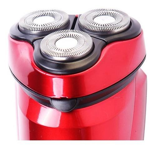 rasuradora recargable 3 cabezas independientes bsk-9300 roja