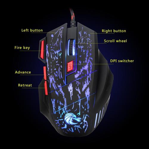 ratón de juego 7 botones 5500dpi diseño ergonómico compat