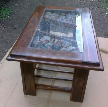 Mesa ratona artesanal madera y vidrio muy moderna - Mesa madera y vidrio ...