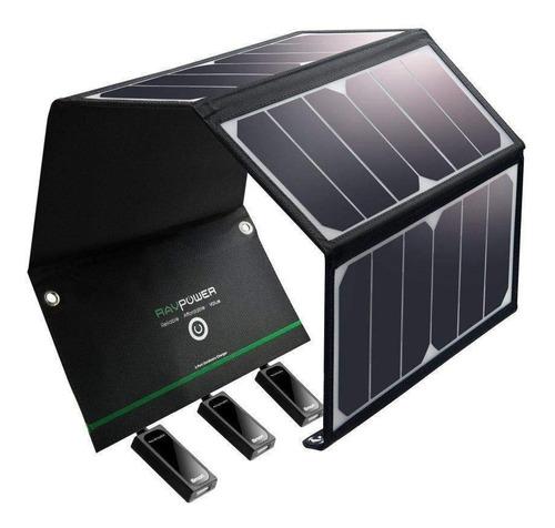 ravpower cargador solar 24w panel 3 usb plegable portátil