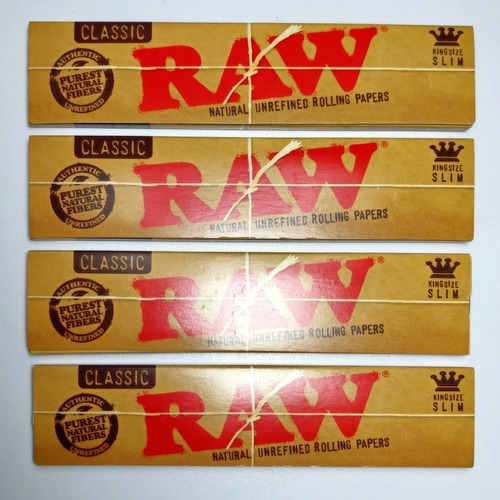 raw classic natural king size slim papel para liar 4 pack