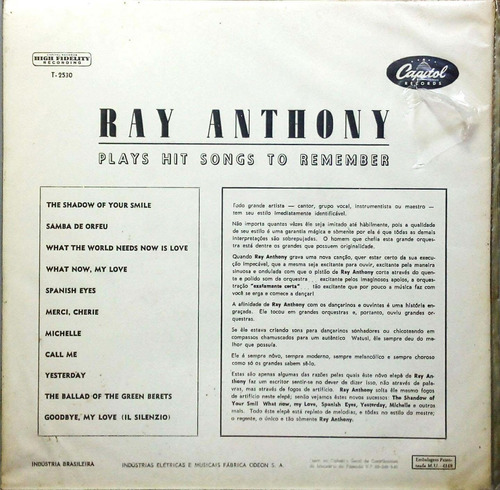 ray anthony lp hit songs to remember capa sanduíche 15476
