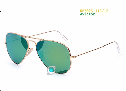 ray ban 3025 112/19 aviator gold 58mm lente verde espejado