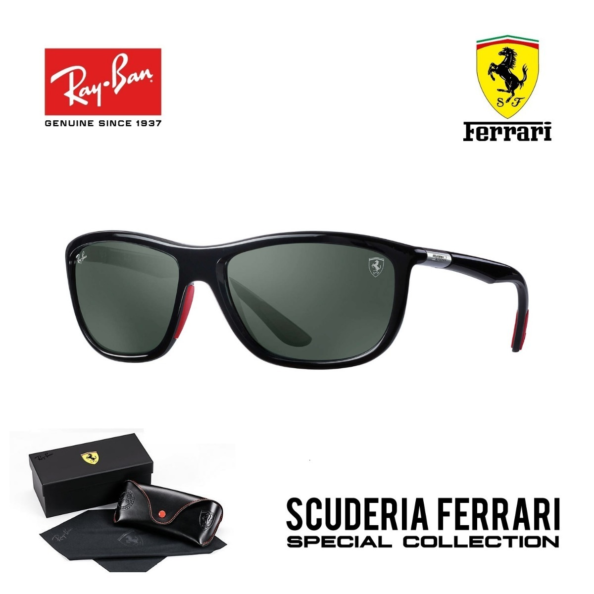 bbe7861ae Ray Ban 8351 Scuderia Ferrari Collection Original + Brinde - R$ 349 ...