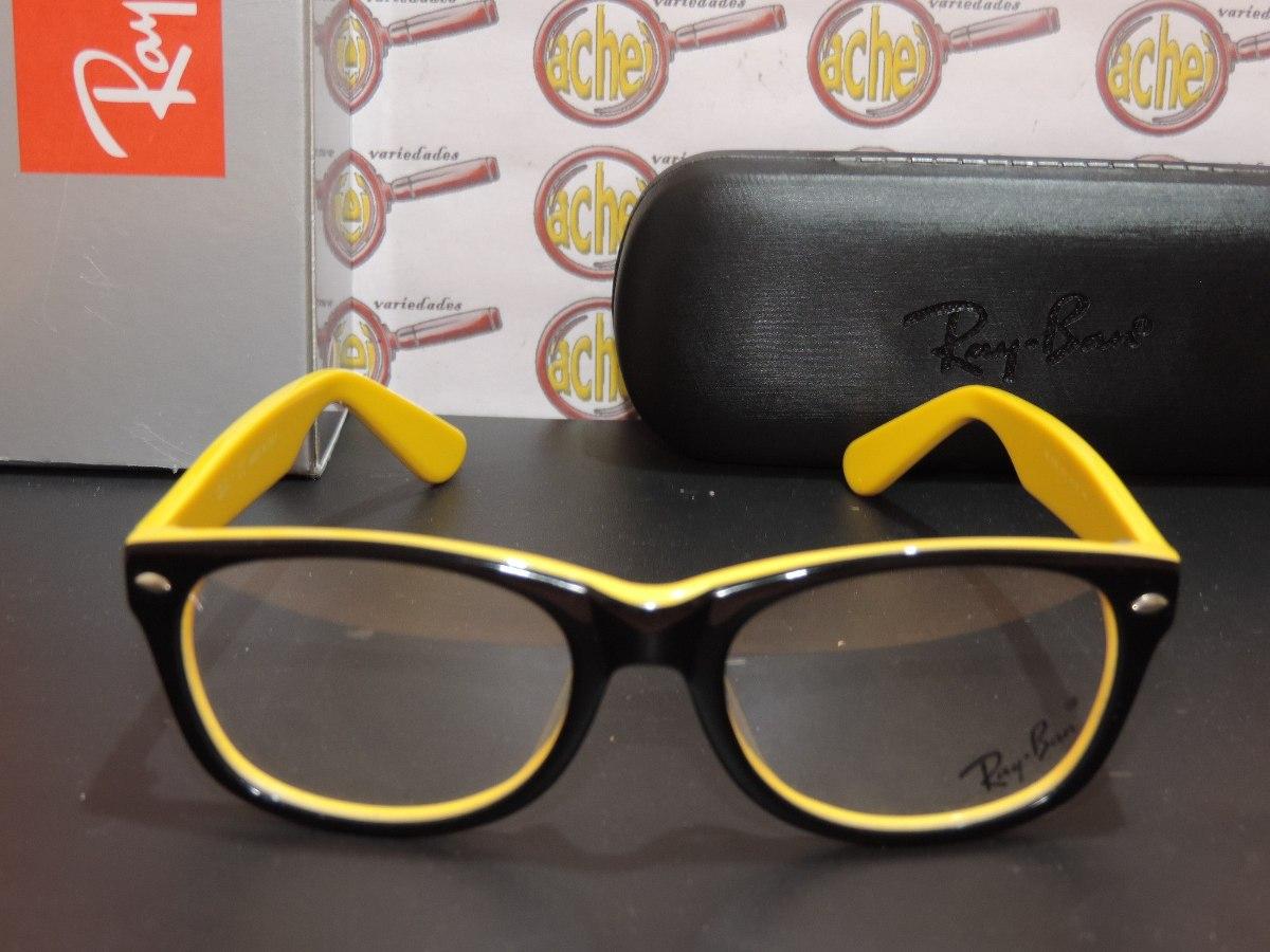 ray ban armação oculos. Carregando zoom... armação oculos de grau rb5228  wayfarer amarelo preto ... 885b49af6f