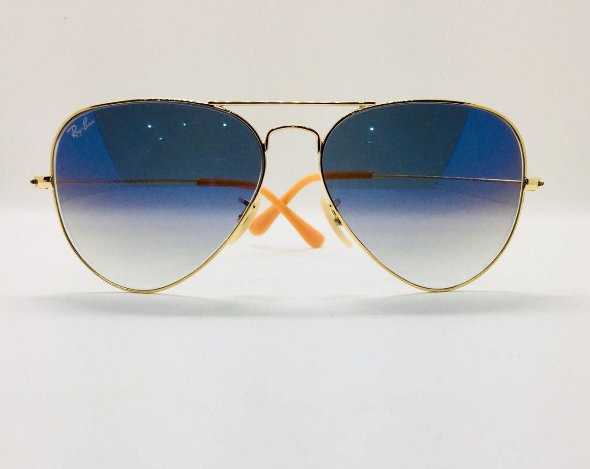 ray ban aviador 3025 dourado com azul degrade original. Carregando zoom. 17238ada65