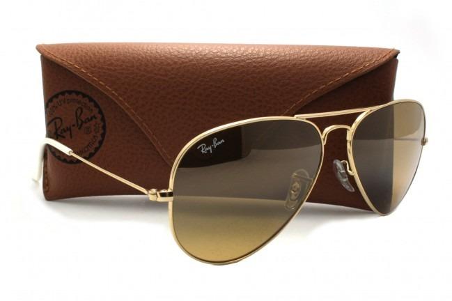 8a560c07d Ray Ban Aviador 3025 Dourado Com Marrom Sólido Original - R$ 221,64 ...