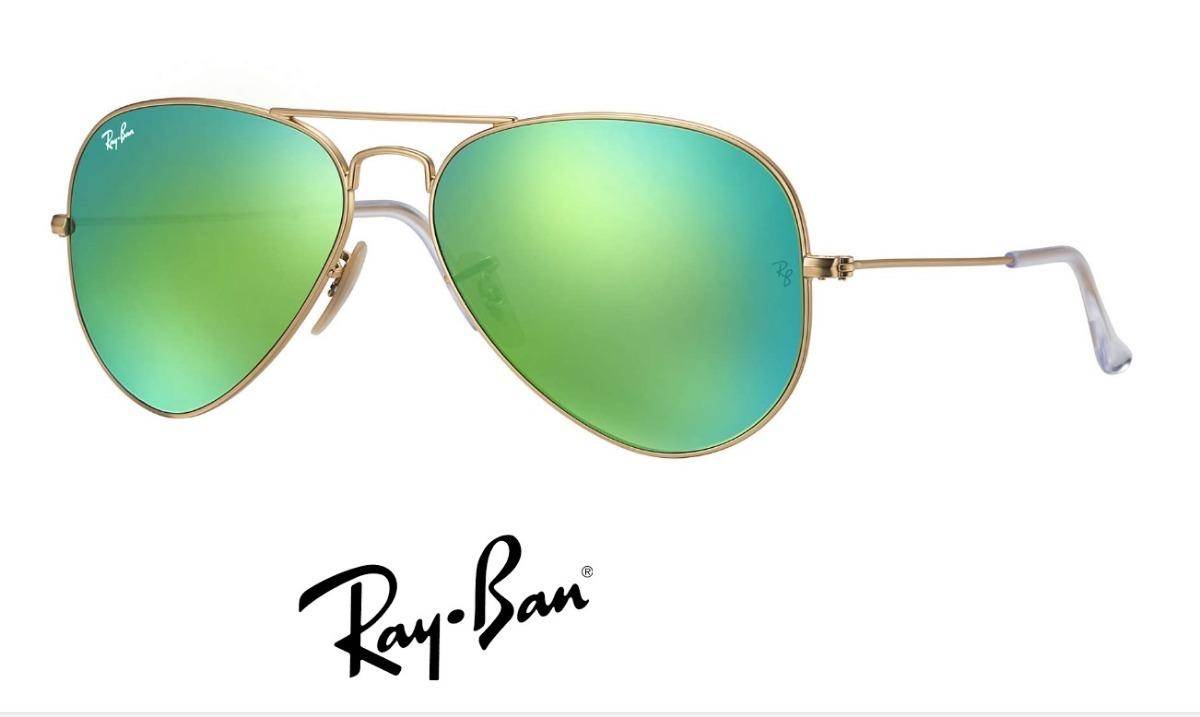 1c425ba72244c ray ban aviador 3025 dourado com verde espelhado original. Carregando zoom.