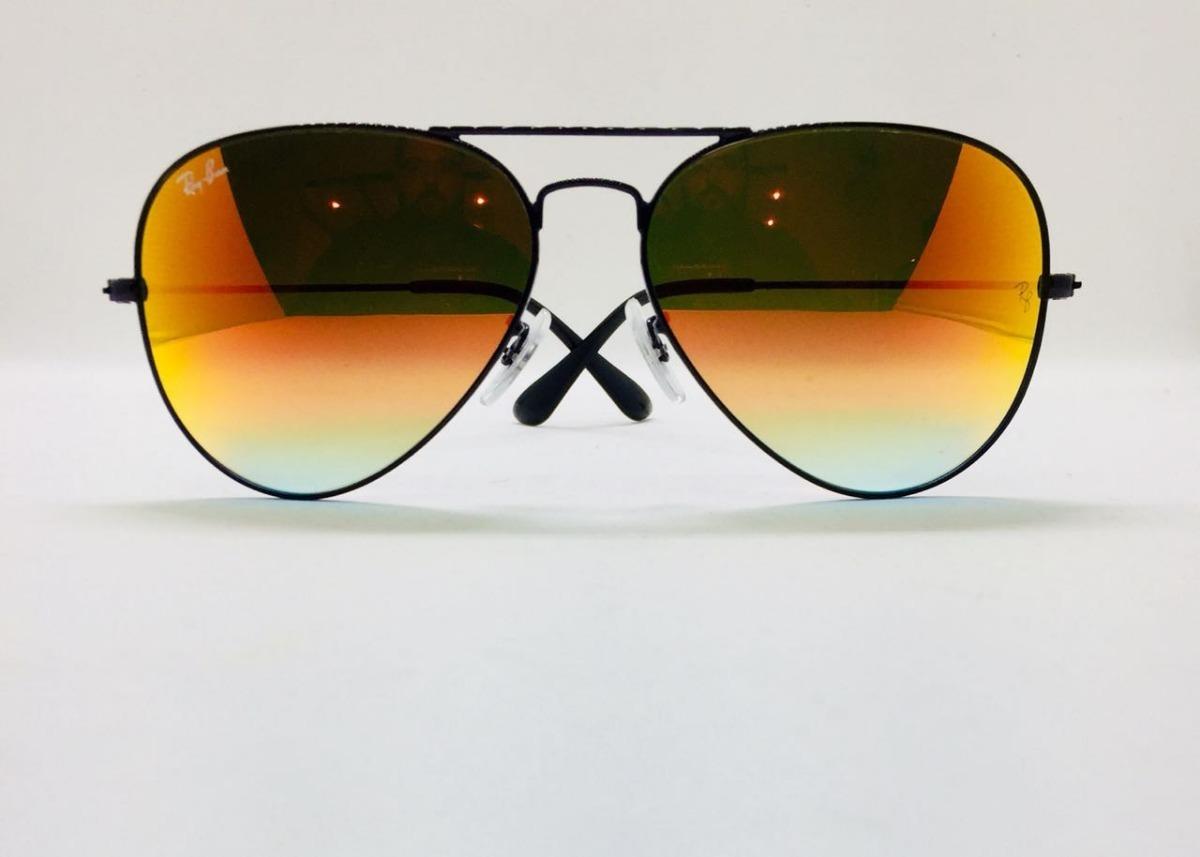 242acf33d ray ban aviador 3025 preto com laranja espelhado original. Carregando zoom.