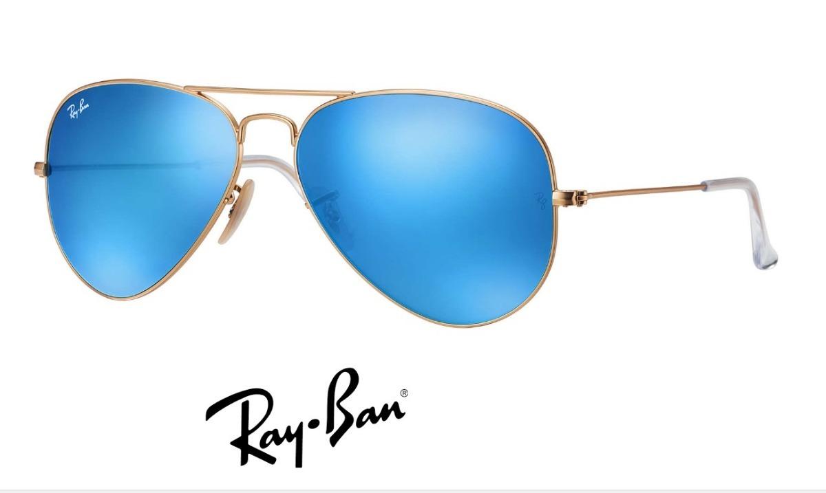 61c0958c7 Ray Ban Aviador 3026 G Dourado Com Azul Espelhado Original - R$ 221 ...