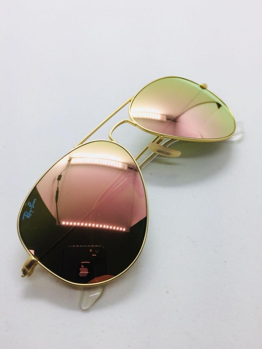104f65ba201f3 ray ban aviador 3026 g dourado com rosa original + brinde. Carregando zoom.