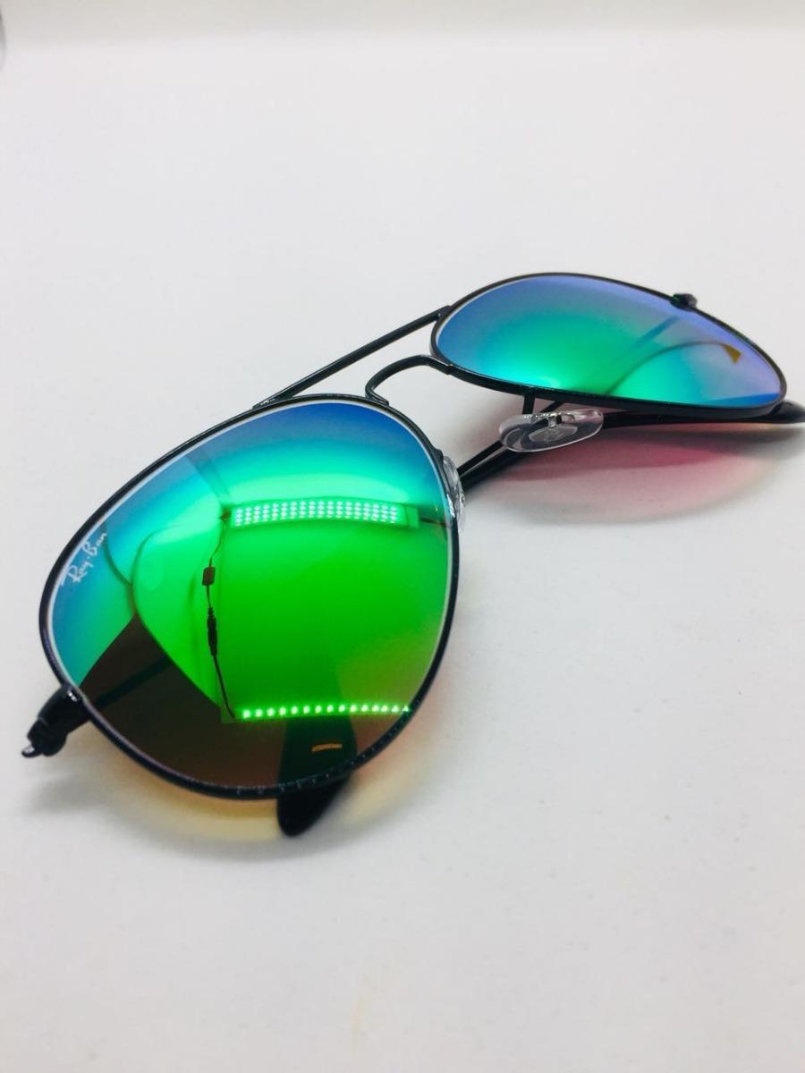 15bb8d1560850 Ray Ban Aviador 3026 G Preto Com Verde Espelhado Original - R  221 ...