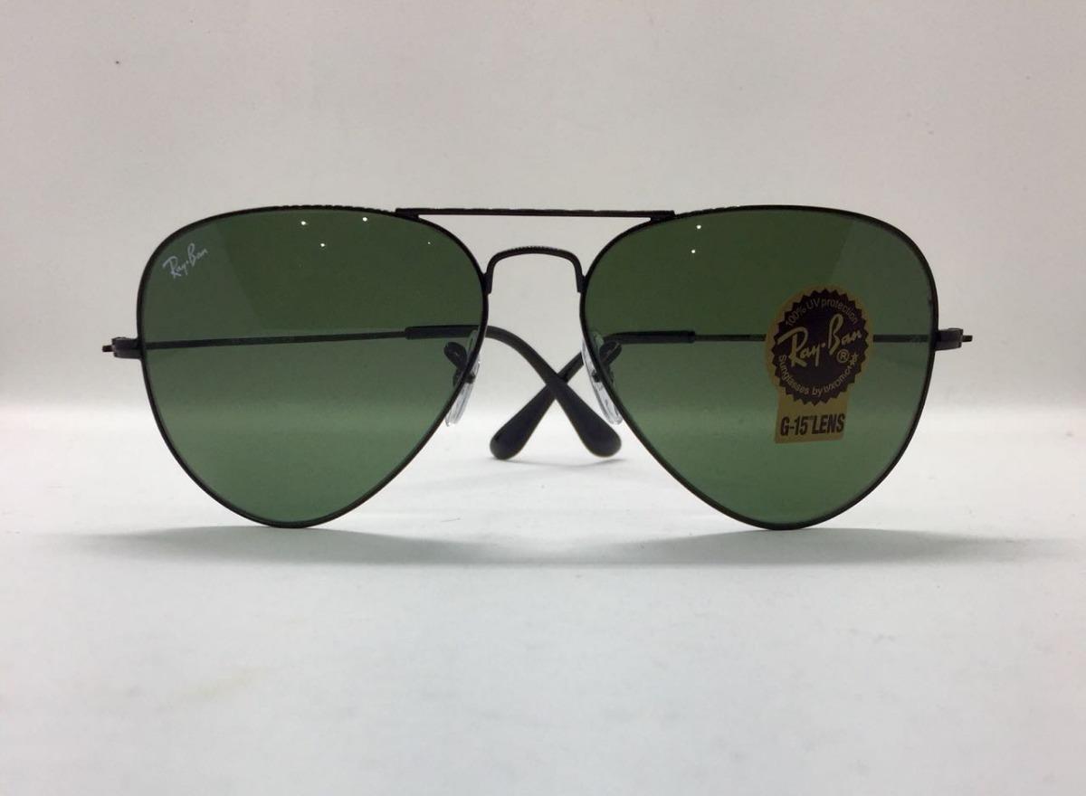 22a83bf06 ray ban aviador 3026 g preto com verde g15 original + brinde. Carregando  zoom.