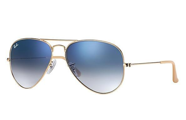 Ray Ban Aviador Armação Dourada Lente Azul Degradê Medio - R  510,00 ... 883b37d1cb