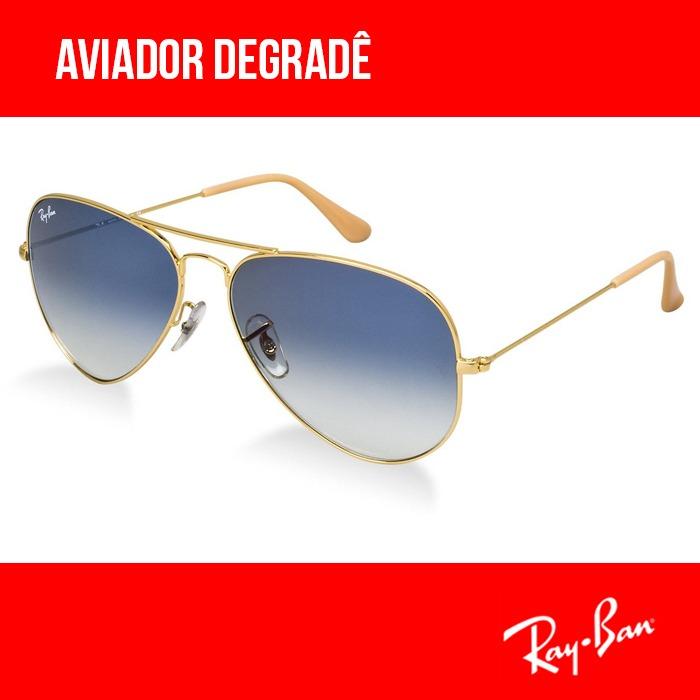 Ray-ban Aviador Degradê 3025 Original 50%off Envio 24h - R  220,00 ... 27e96e304e