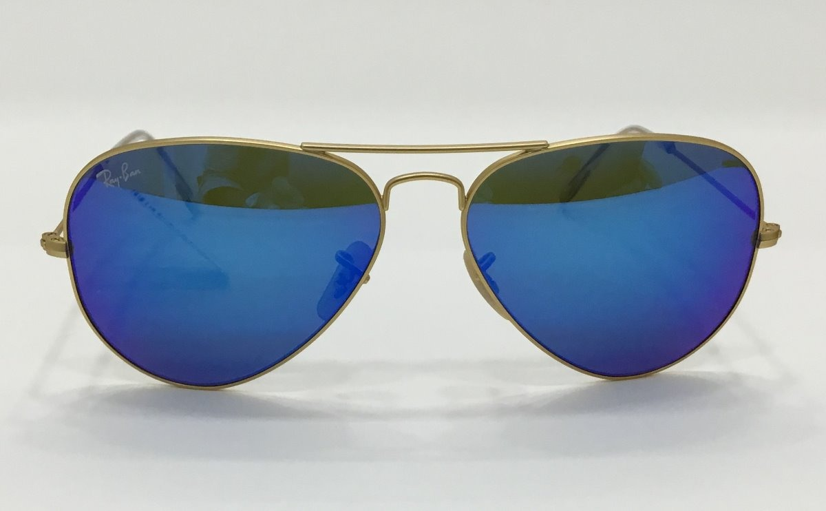 6e5b1b14d Ray Ban Aviador Dourado Azul Espelhado - R$ 674,00 em Mercado Livre