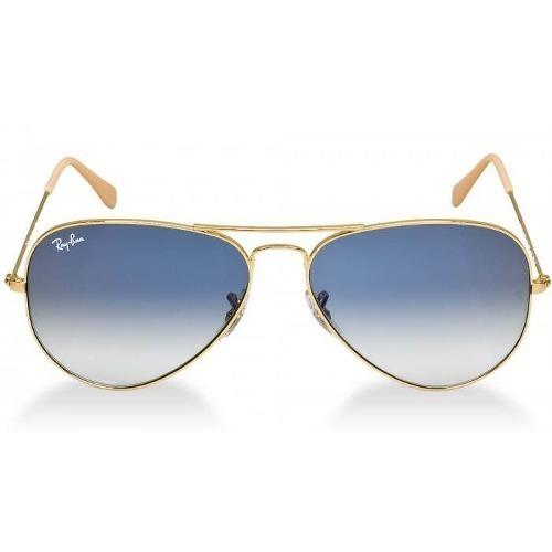 Ray-ban Aviador Dourado Lente Safira Azul Degradê Original - R  327 ... a484dad7a3